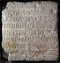 Epigraphic commemoration of the official start of the construction of the Cathedral of Sana Maria de Lleida. North wall of the presbytery, Seu Vella. © Consorci del Turó de la Seu Vella de Lleida.
